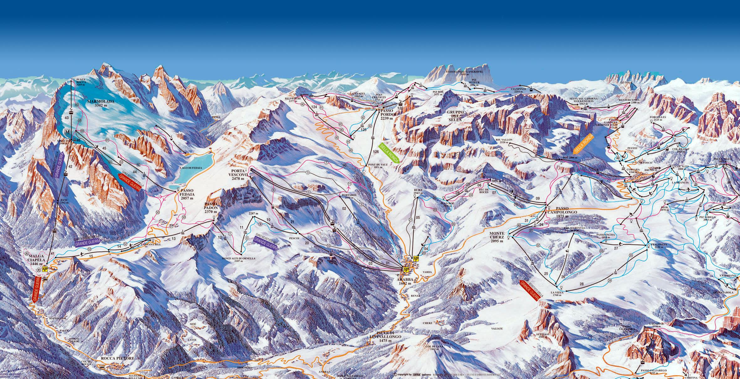 Ski mapa Arabba