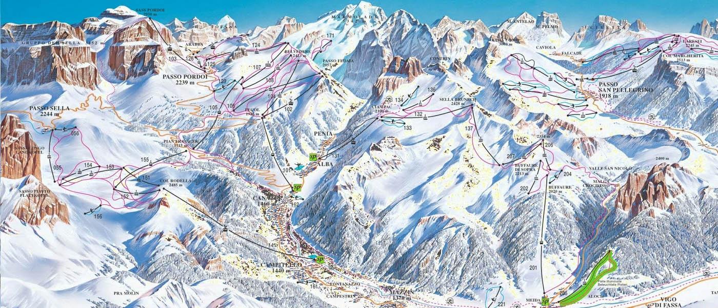 Ski mapa Val di Fassa